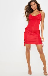 a5c76778eb Red Ribbed Halterneck Cowl Ruched Bodycon Dress image 4