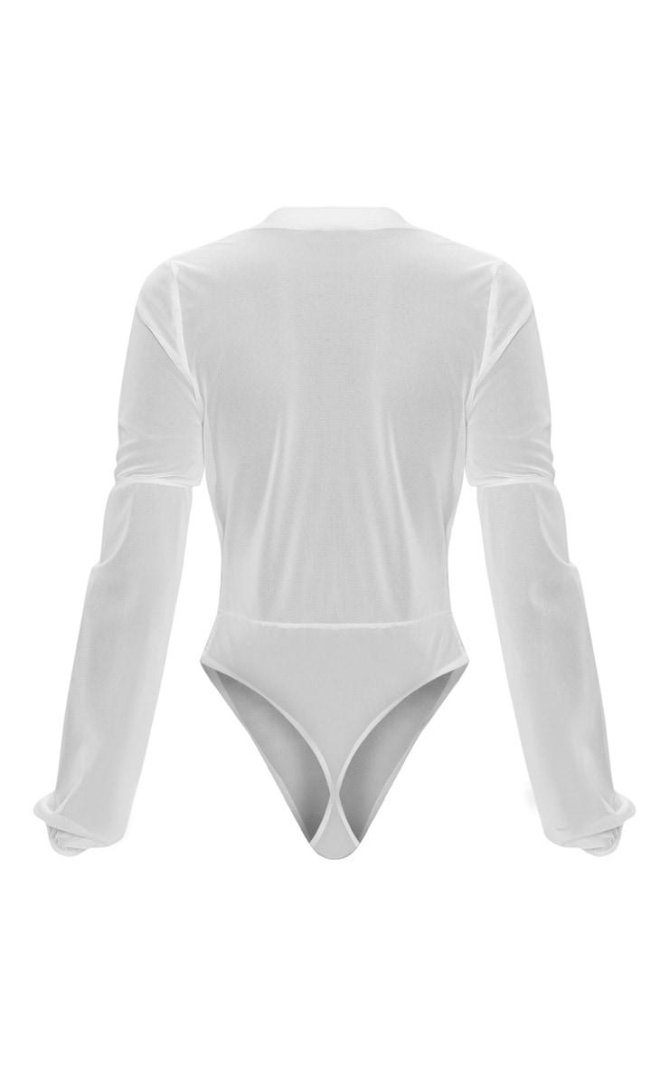 White Mesh Plunge Lace Trim Thong Bodysuit  4