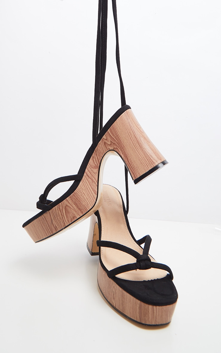 Black Wood Platform Lace Up Sandal 3
