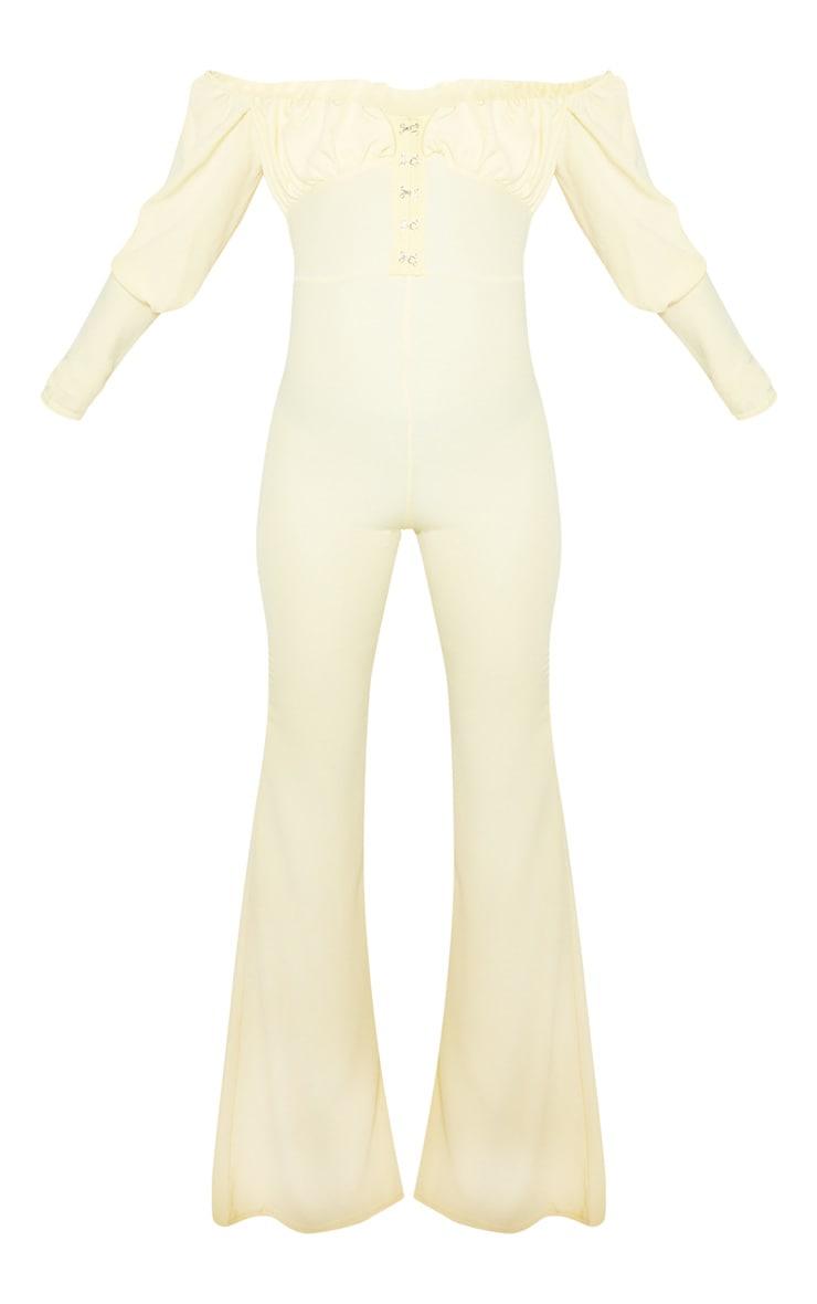 Petite Lemon Yellow Ruched Long Sleeve Flare Leg Bardot Jumpsuit 3