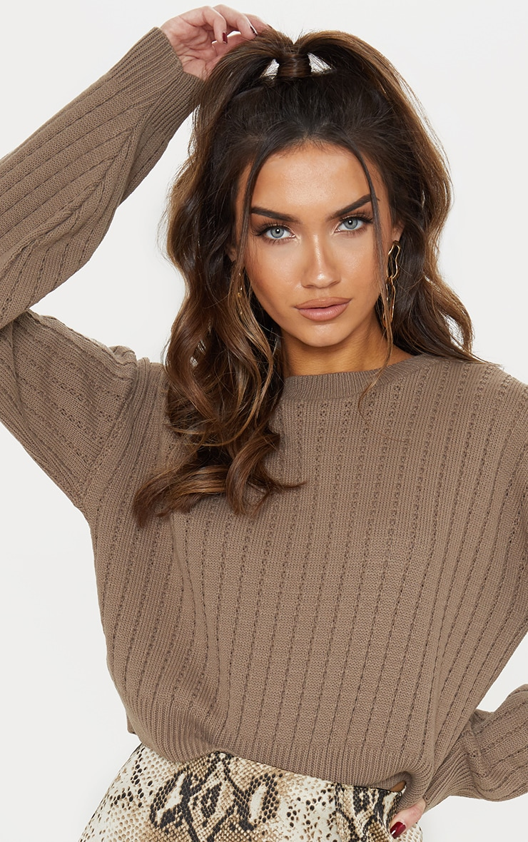 Taupe Ribbed Balloon Sleeve Cropped Jumper  5