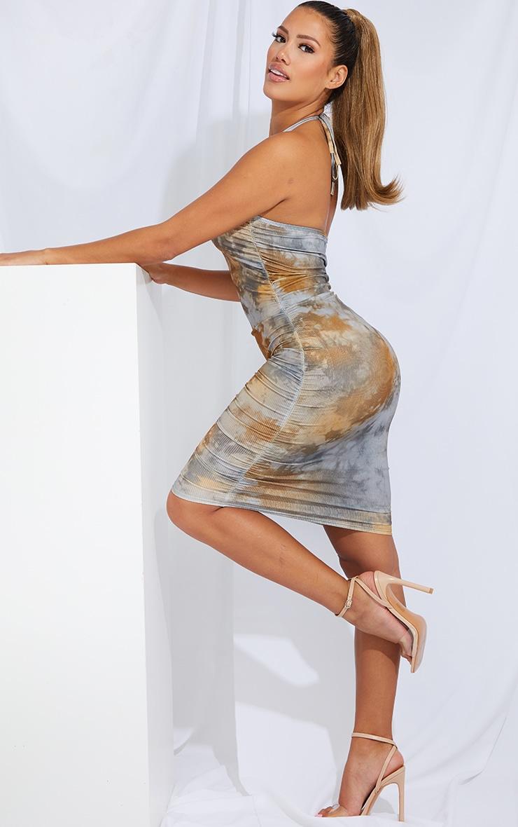 Shape Tan Tie Dye Rib Ruched Side Halterneck Bodycon Dress 3