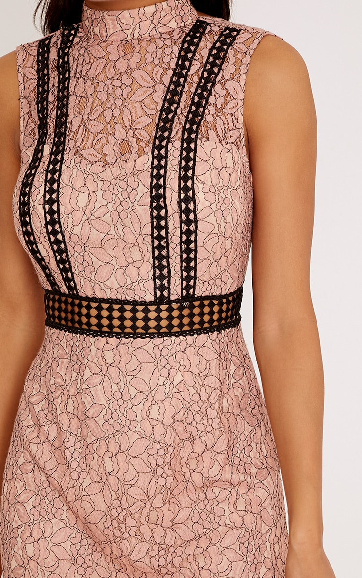 Daphnie Pink Lace High Neck Sleeveless Shift Dress 5