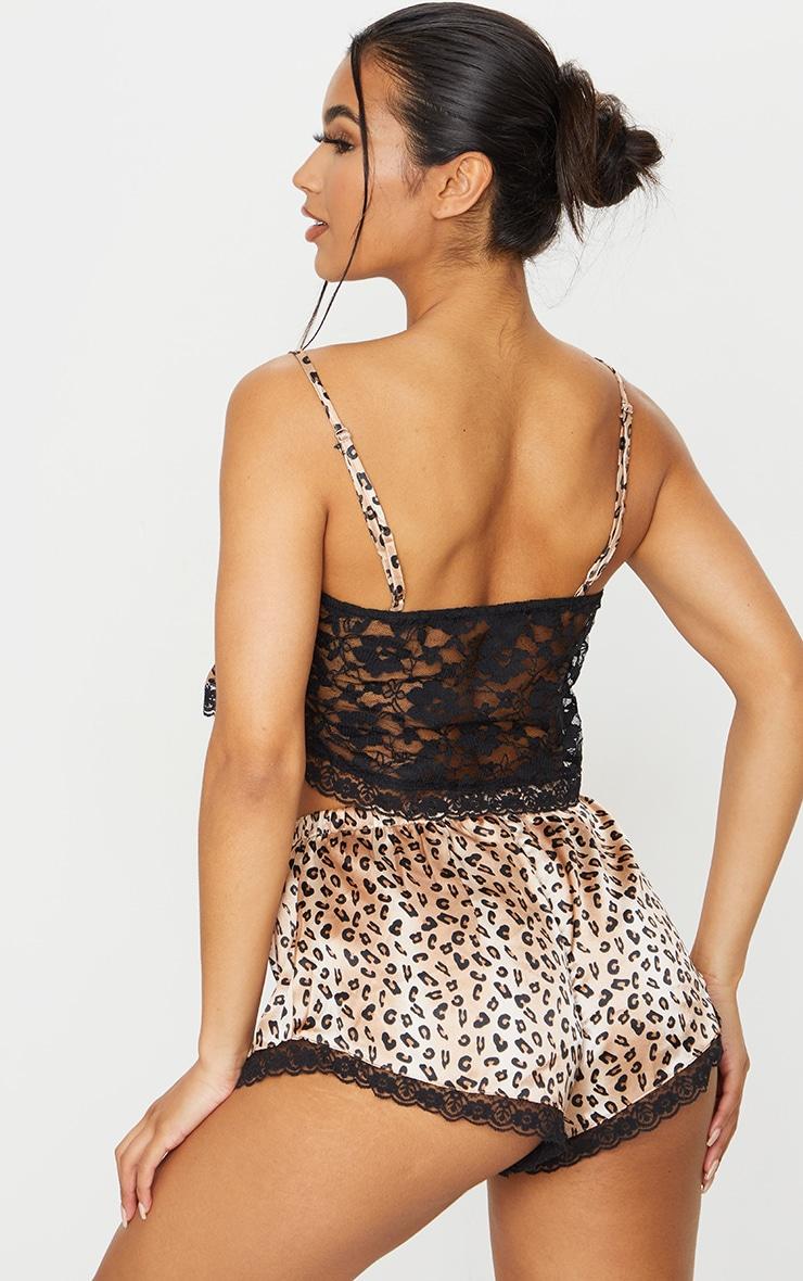 Leopard Print Lace Back Satin Cami and Short PJ Set 2