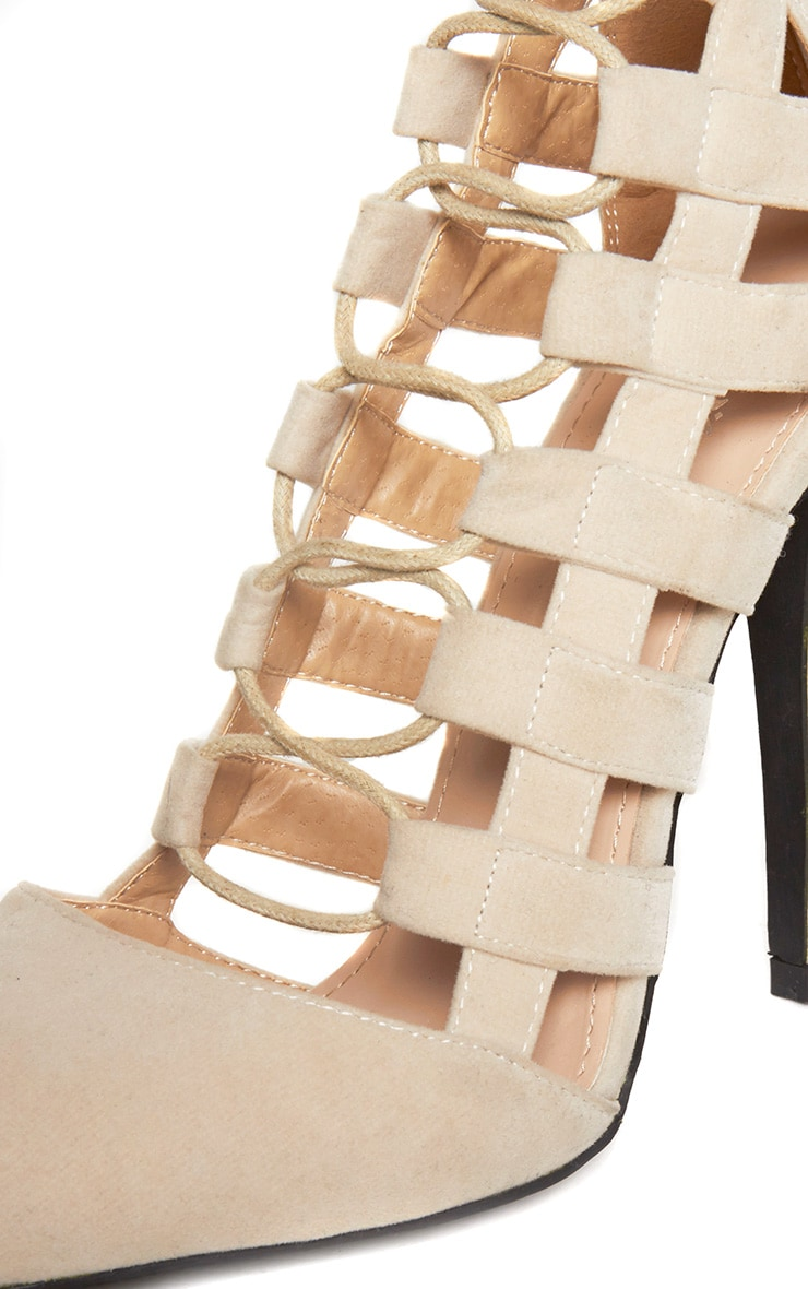 Amaris Nude Pointed Strappy Heels 6