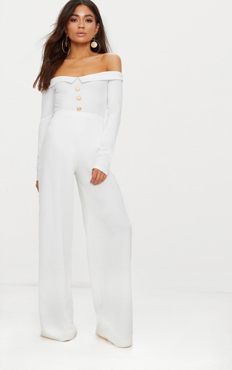Petite White Button Front Tux Detail Long Sleeve Bodysuit  5