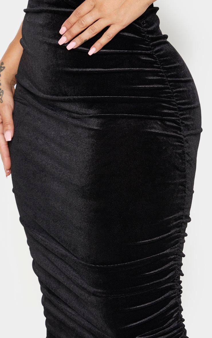Shape Black Velvet Ruched Side Bodycon Skirt 4