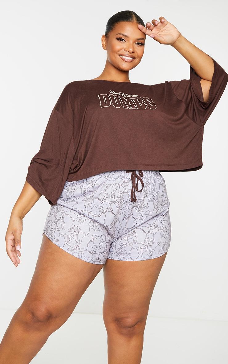 Plus Brown Disney Dumbo T shirt And Shorts PJ Set 1