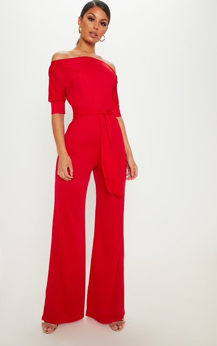 Red Off Shoulder Tie Waist Wide Leg Jumpsuit 1