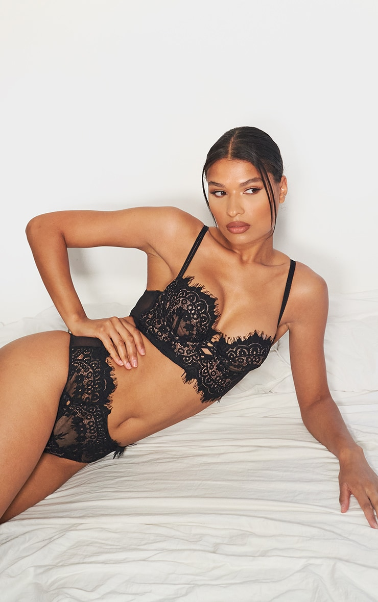 black ann summers longline lace bra
