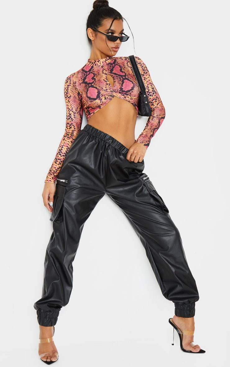 Pink Snake Print Twist Front Long Sleeve Crop Top 4