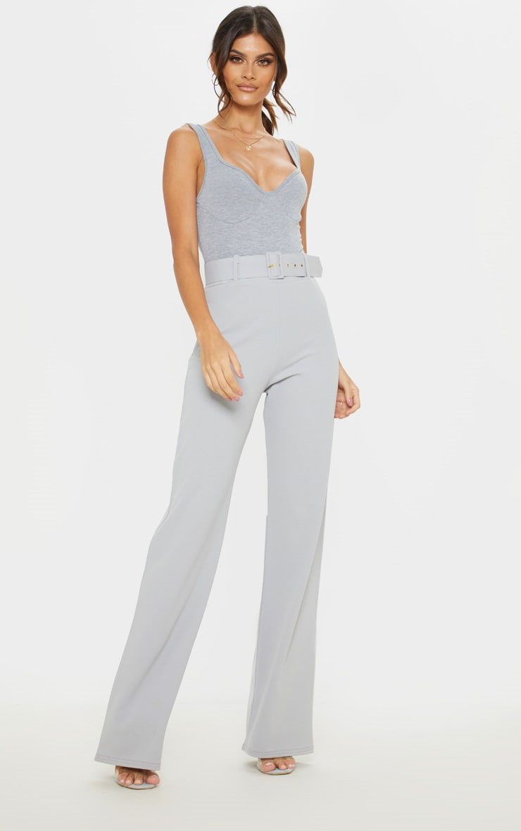choose best professional sale top-rated authentic Grey High Waisted Buckle Wide Leg Trouser