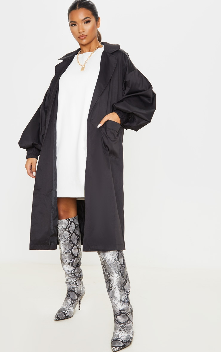 Black Balloon Sleeve Tie Waist Trench 4