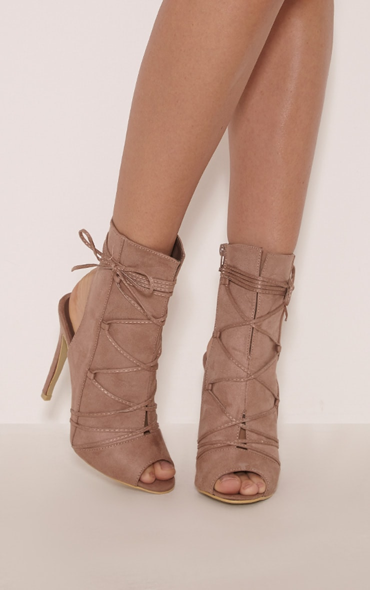 Alyssa Mocha Open Back Lace Up Heels 1