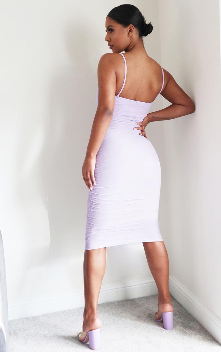 Lilac Strappy Mesh Midi Dress 2