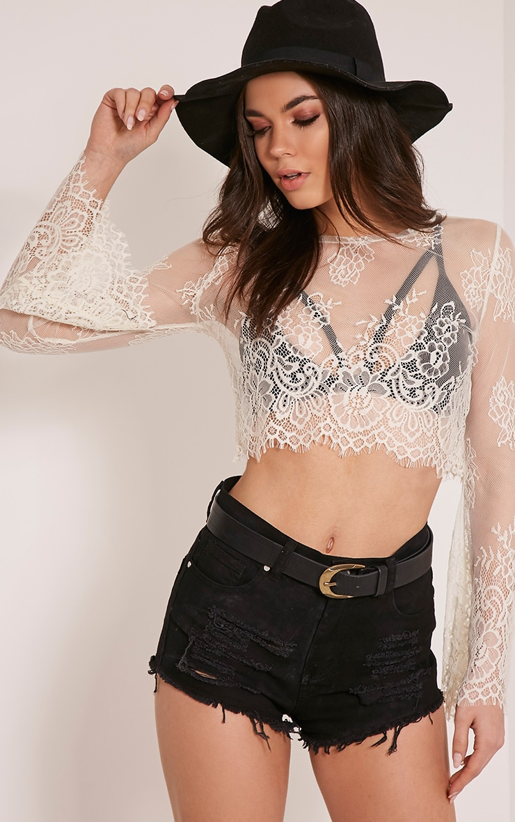 Katey Cream Bell Sleeve Lace Crop Top 1