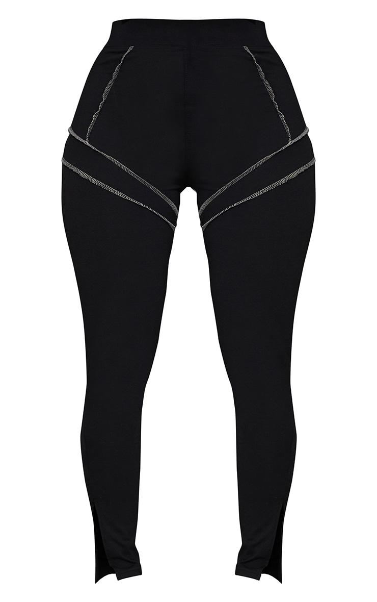 Shape Black Overlock Stitch Detail Split Hem Leggings 5
