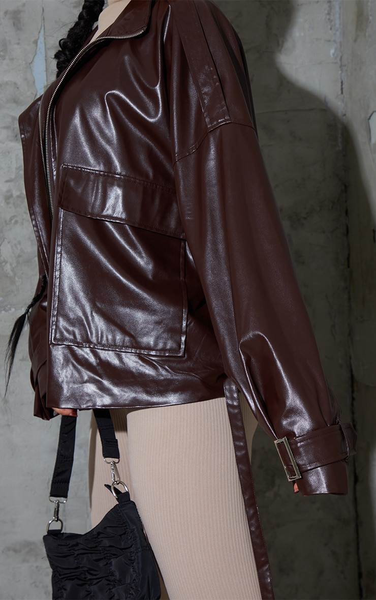 Chocolate Faux Leather Extreme Oversized Biker Jacket 5