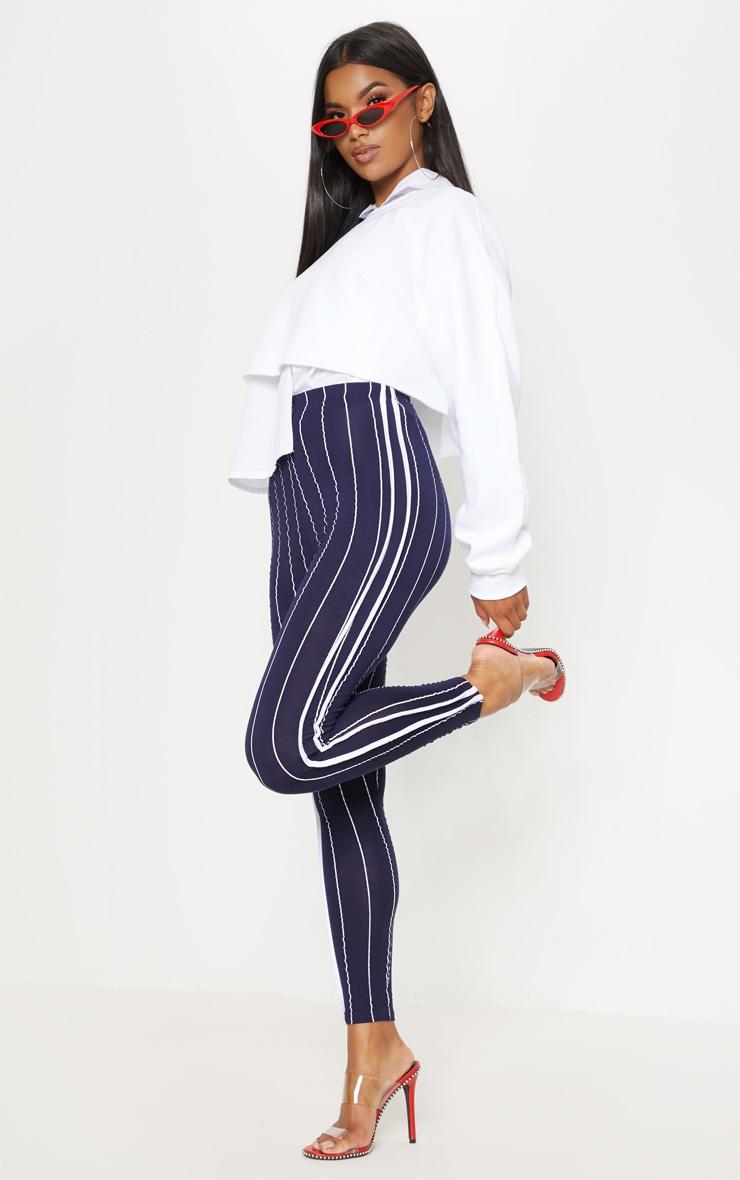 Navy Pinstripe High Waisted Side Stripe Legging