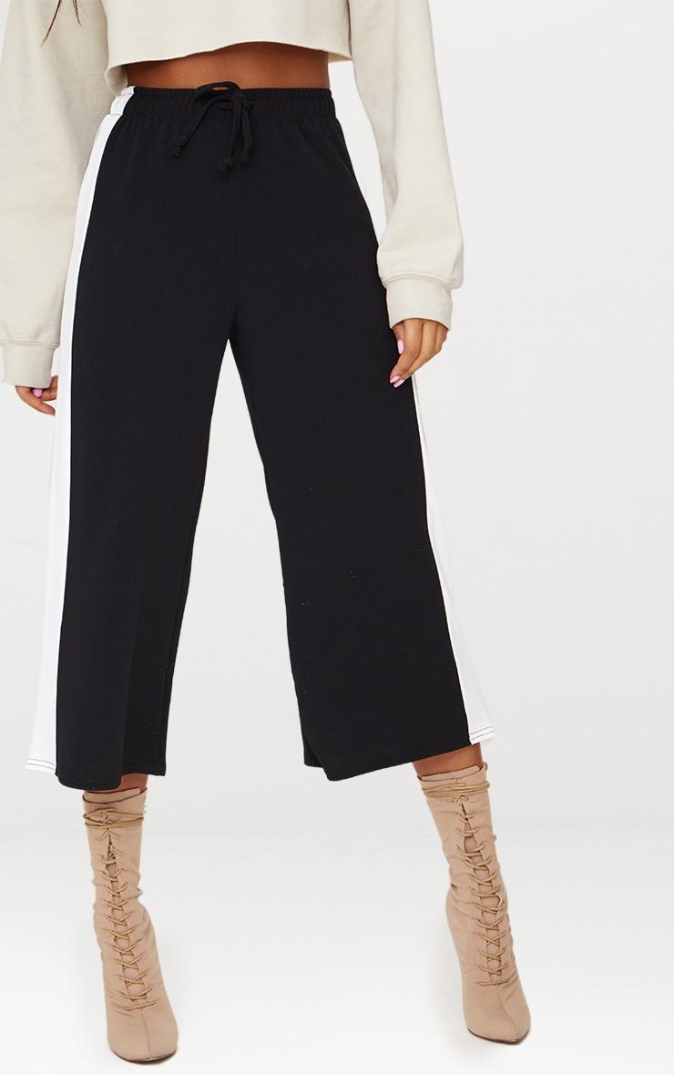 Jupe-culotte noire à cordon et rayure latérale 2