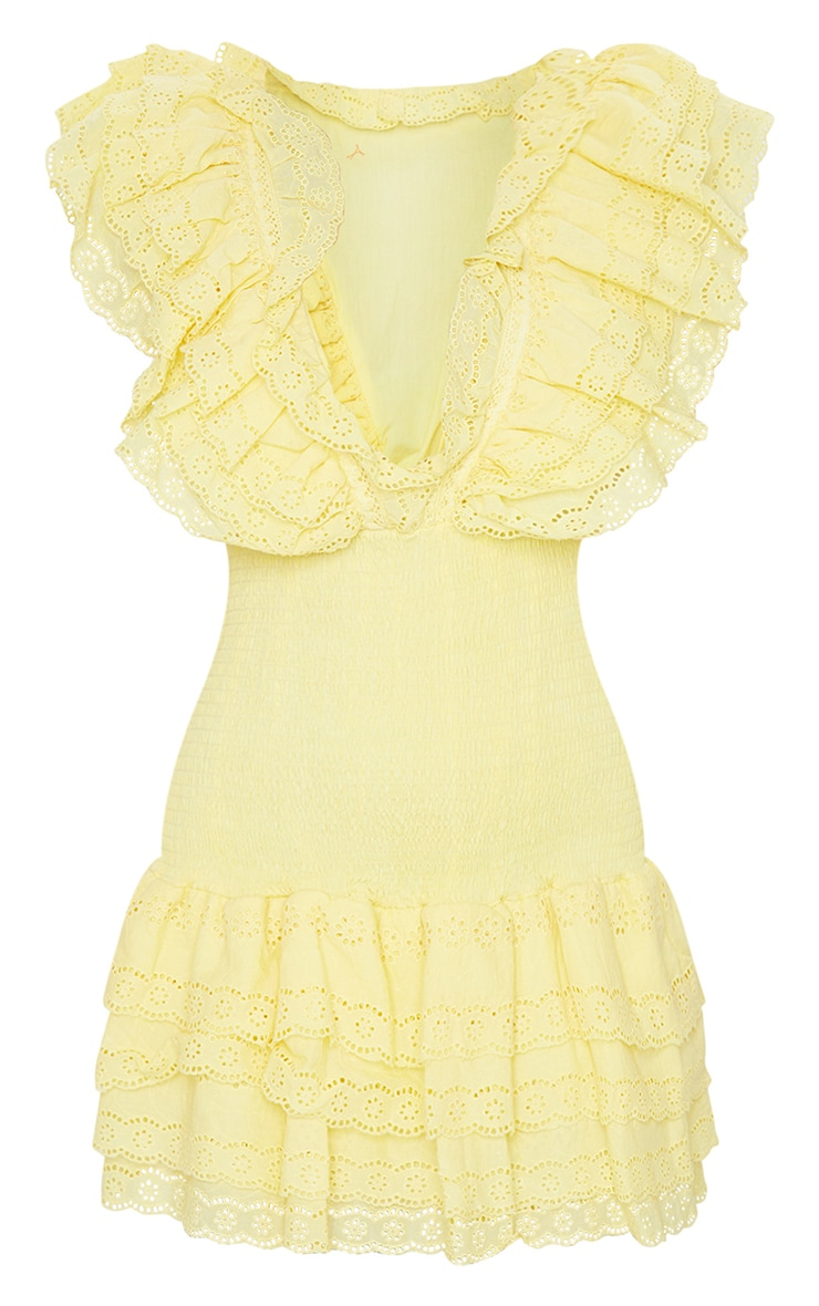 Lemon Broderie Anglaise Shirred Frill Bodycon Dress 6