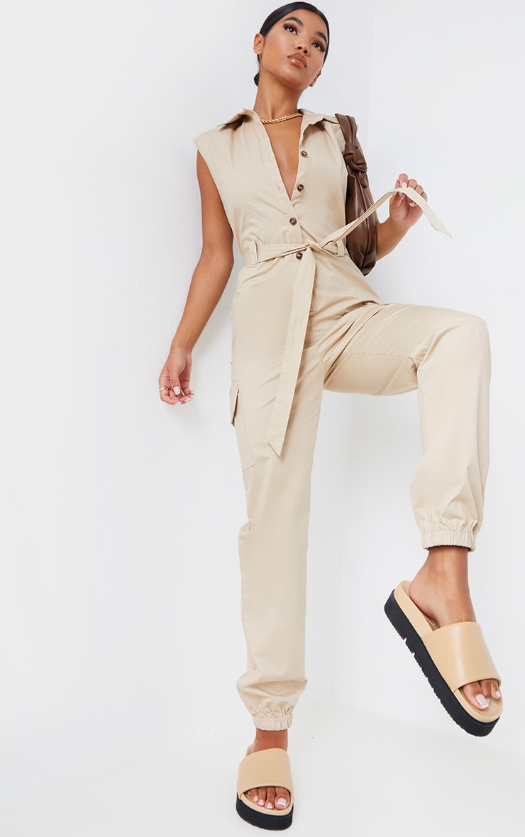 Stone Sleeveless Shoulder Pad Button Front Cargo Jumpsuit 1