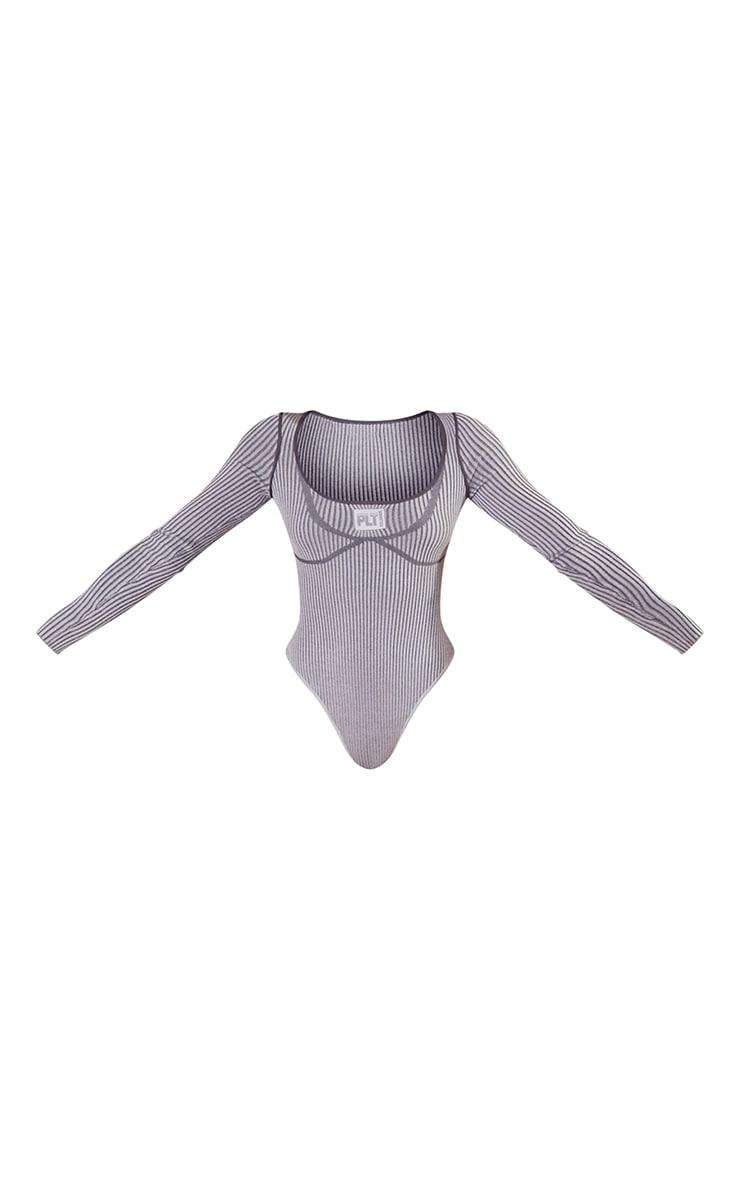 PRETTYLITTLETHING Charcoal Bust Detail Long Sleeve Bodysuit 5