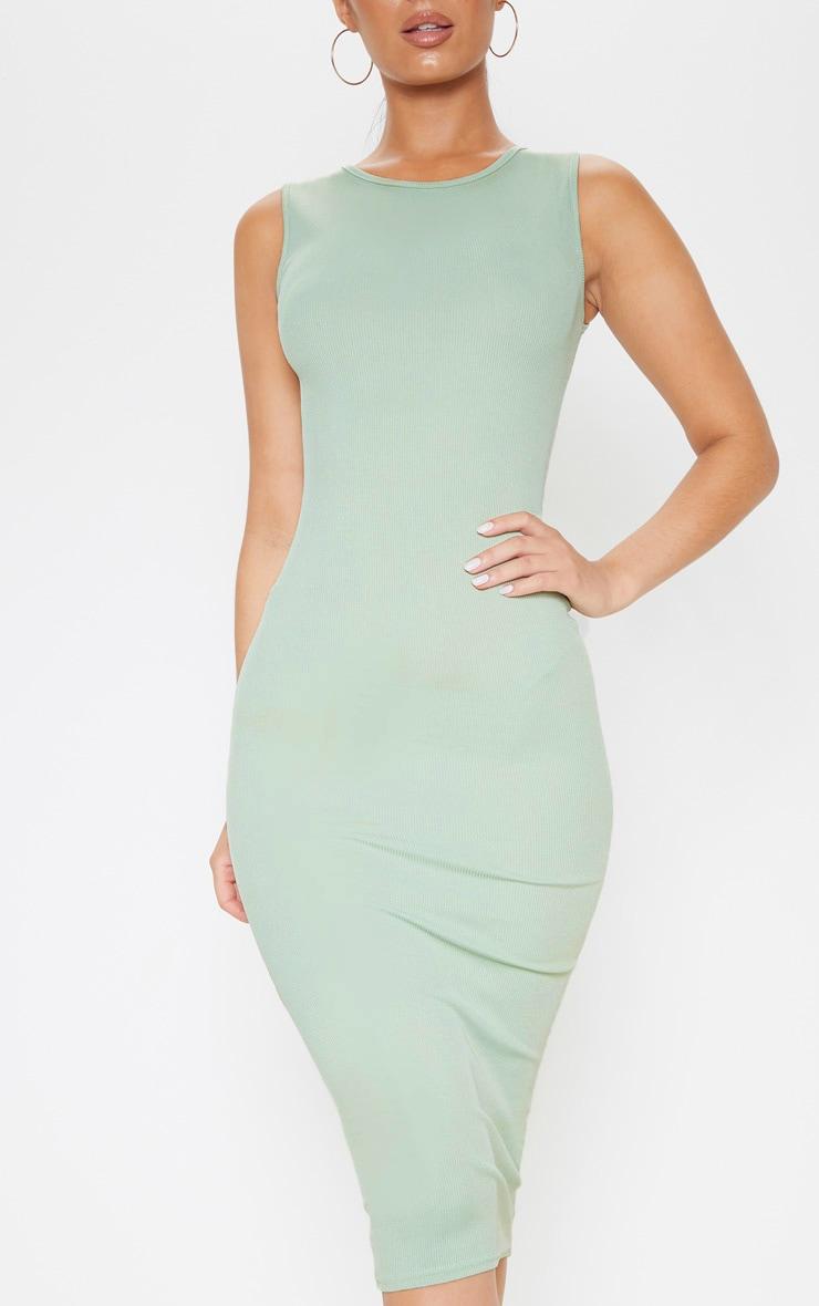 Sage Khaki Ribbed Midi Dress 5