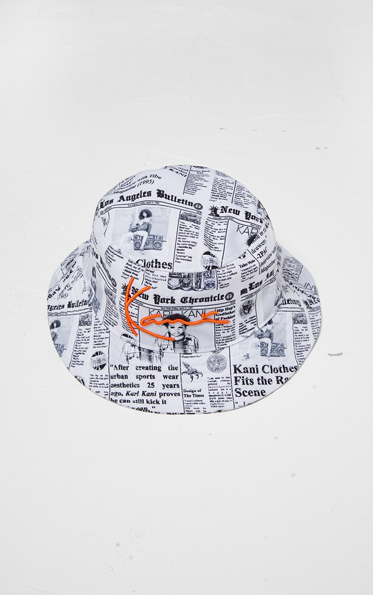 KARL KANI White Newspaper Print Bucket Hat 4