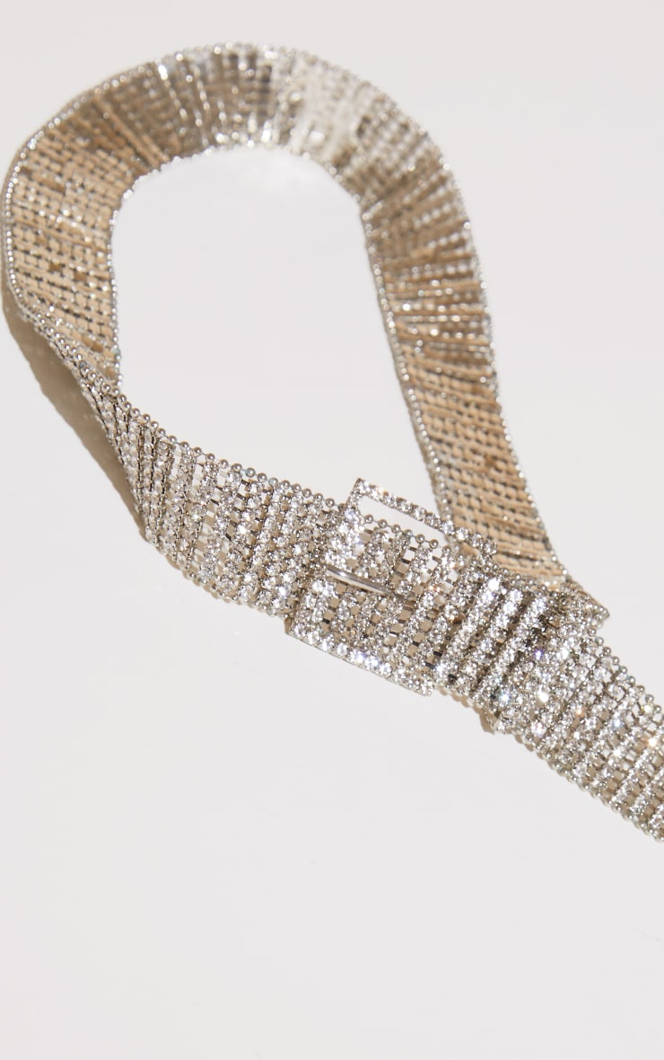 Silver Diamante Chain Link Belt 2