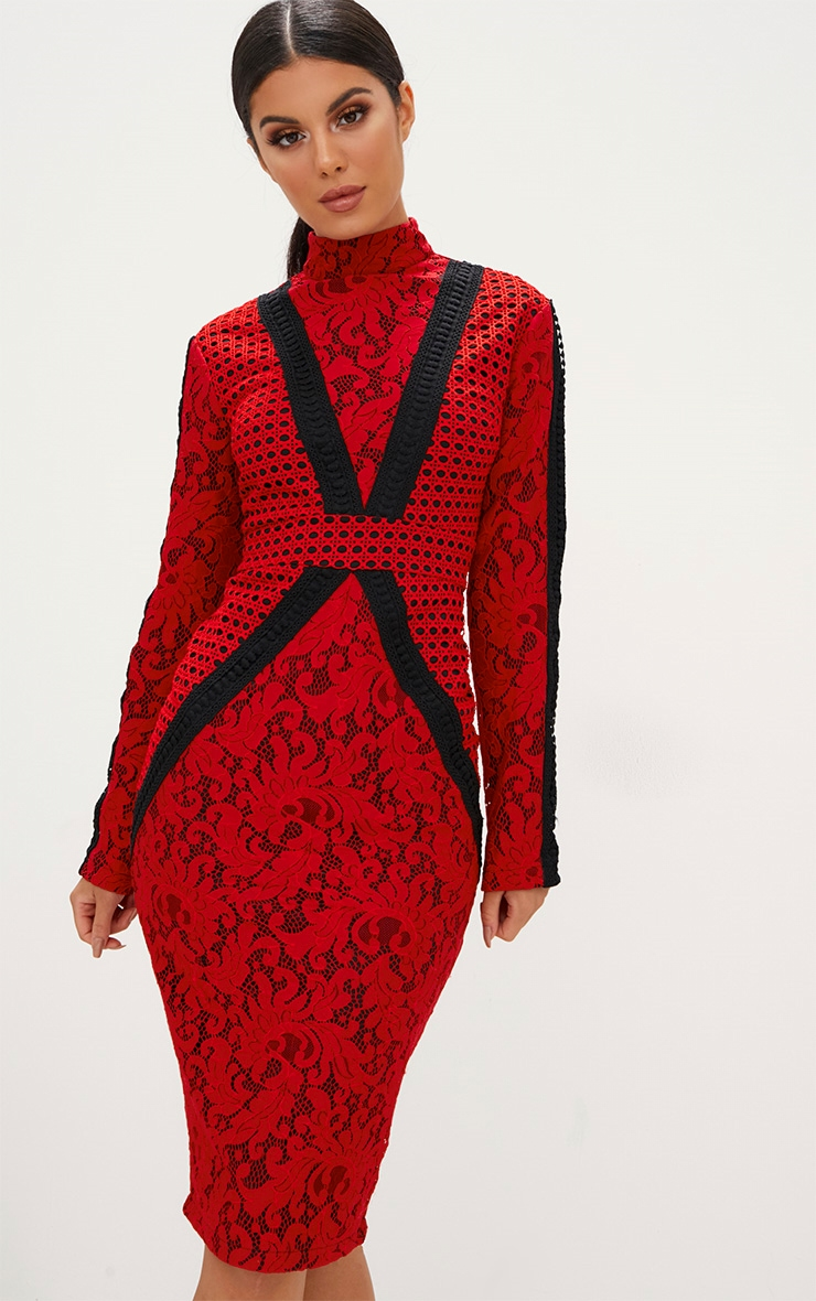 Red Crochet Lace High Neck Contrast Trim Midi Dress 3