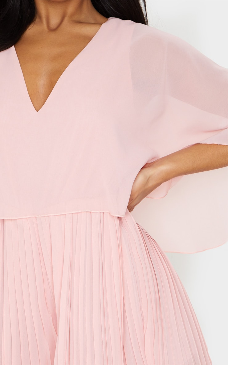 Dusty Pink Cape Pleated Detail Playsuit 4