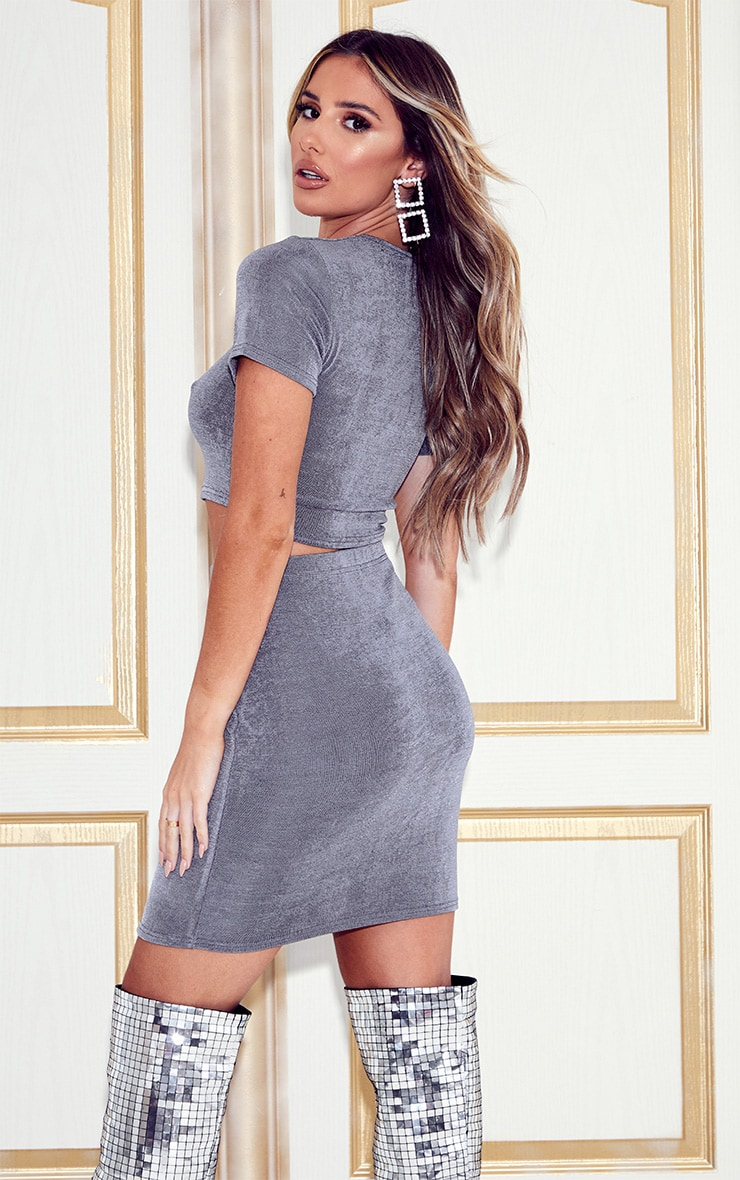 Grey Slinky Cut Out Top And Mini Skirt Set 2