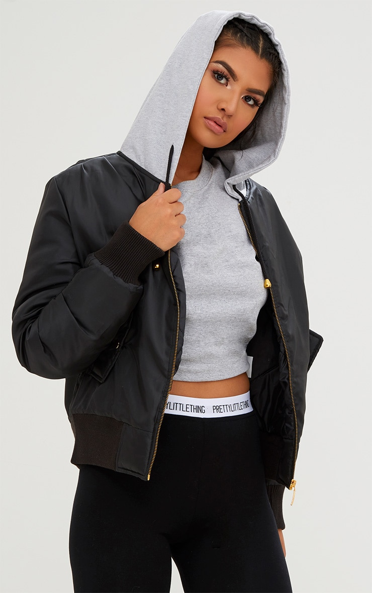 Black Sweatshirt Hooded Bomber Jacket 1
