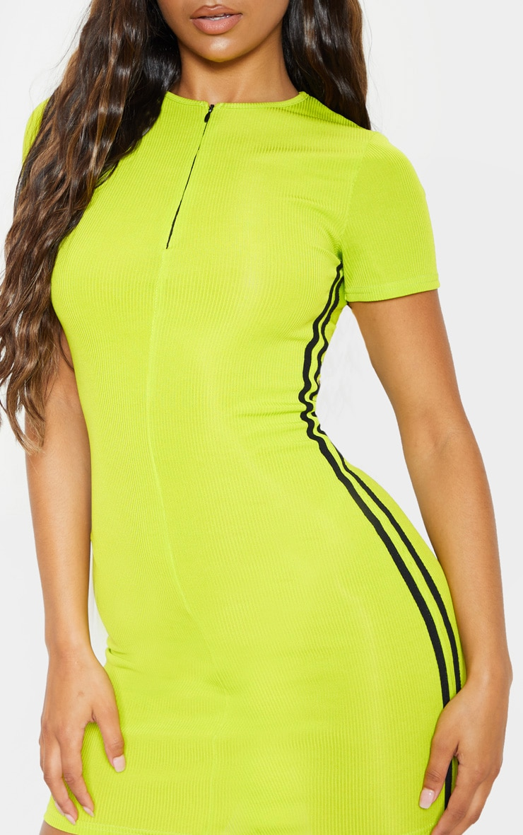 Lime Zip Front Side Stripe Bodycon Dress 5