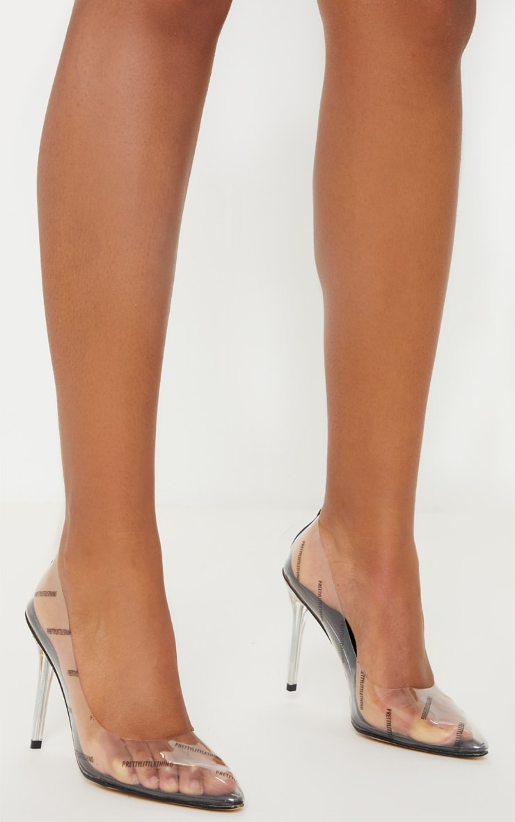 PRETTYLITTLETHING Clear/Taupe Printed Clear Courts  2