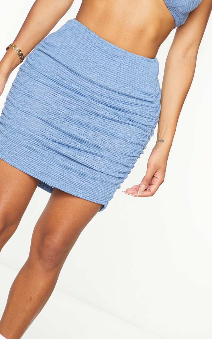 Shape Blue Knit Ruched Side Bodycon Skirt 5