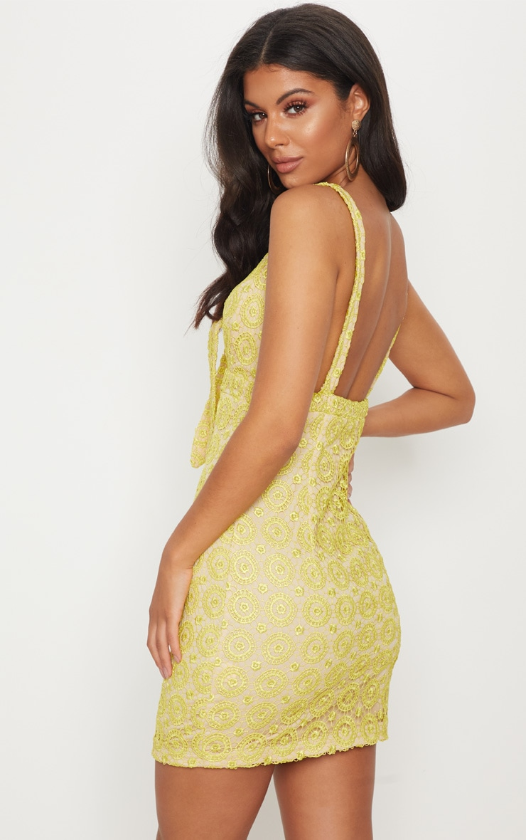 Yellow Strappy Lace Tie Front Bodycon Dress 2