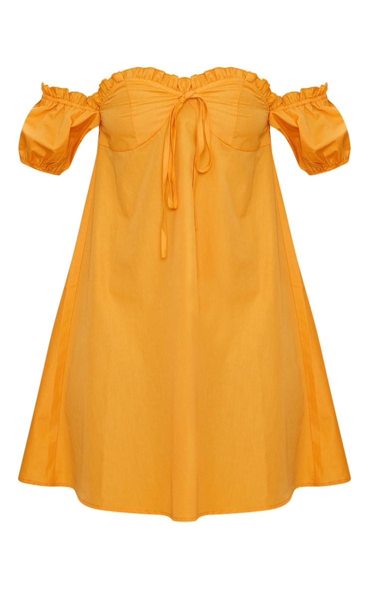 Mustard Frill Bust Bardot Shift  Dress 3