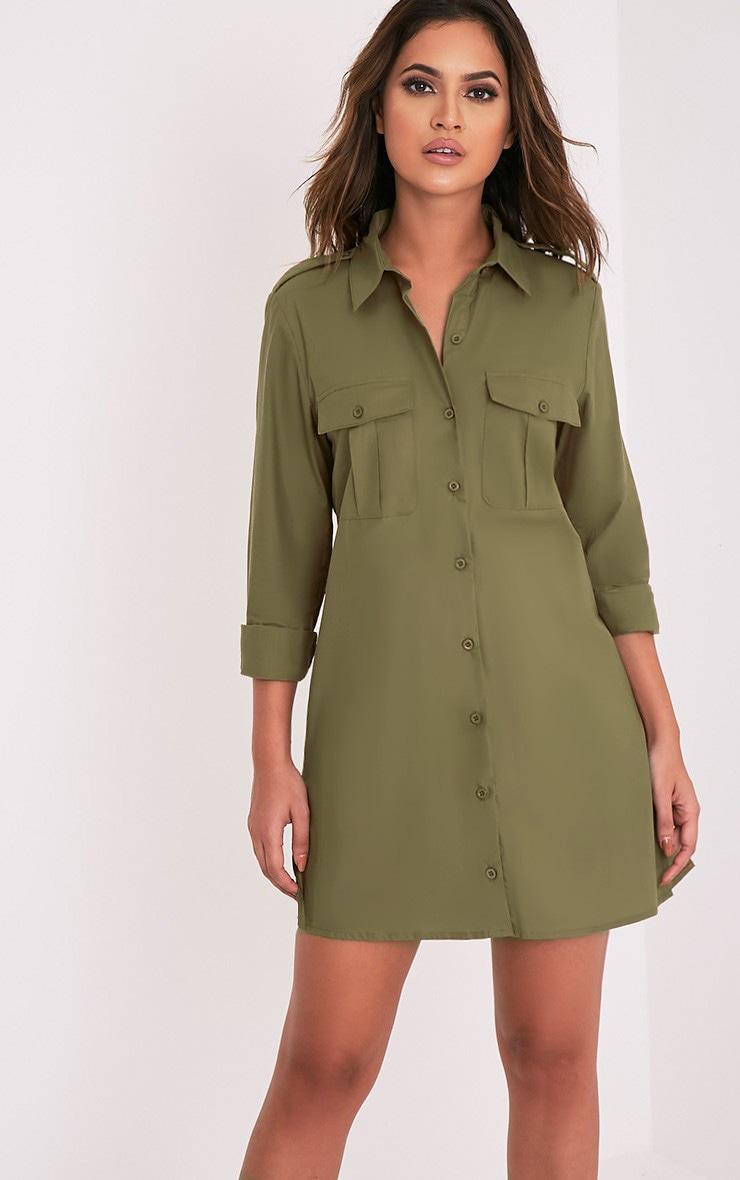 f48d3689ca9 Francessca Khaki Utility Shirt Dress - Dresses - PrettylittleThing ...