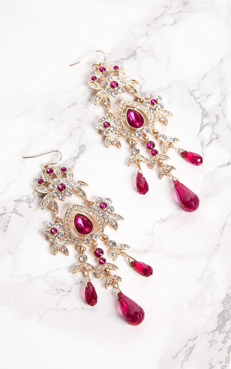Fuchsia Diamante Jewel Drop Earrings 3