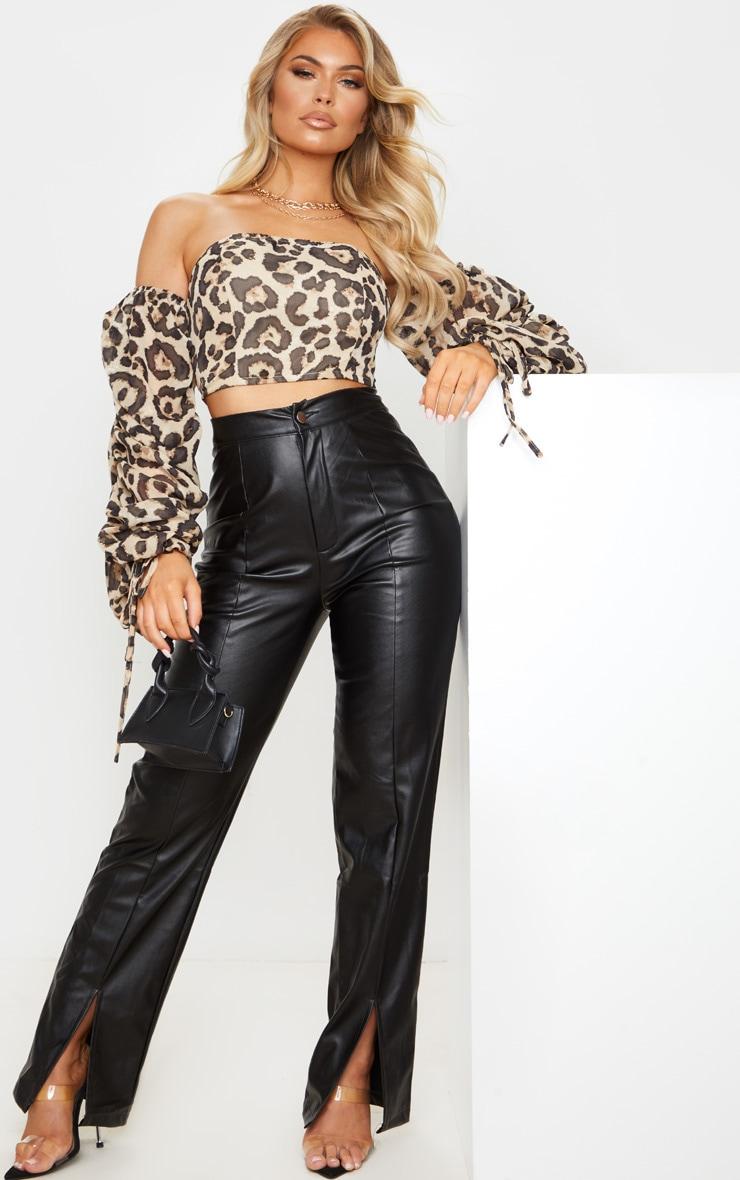 Tan Chiffon Leopard Print Ruched Sleeve Bardot Crop Top 3