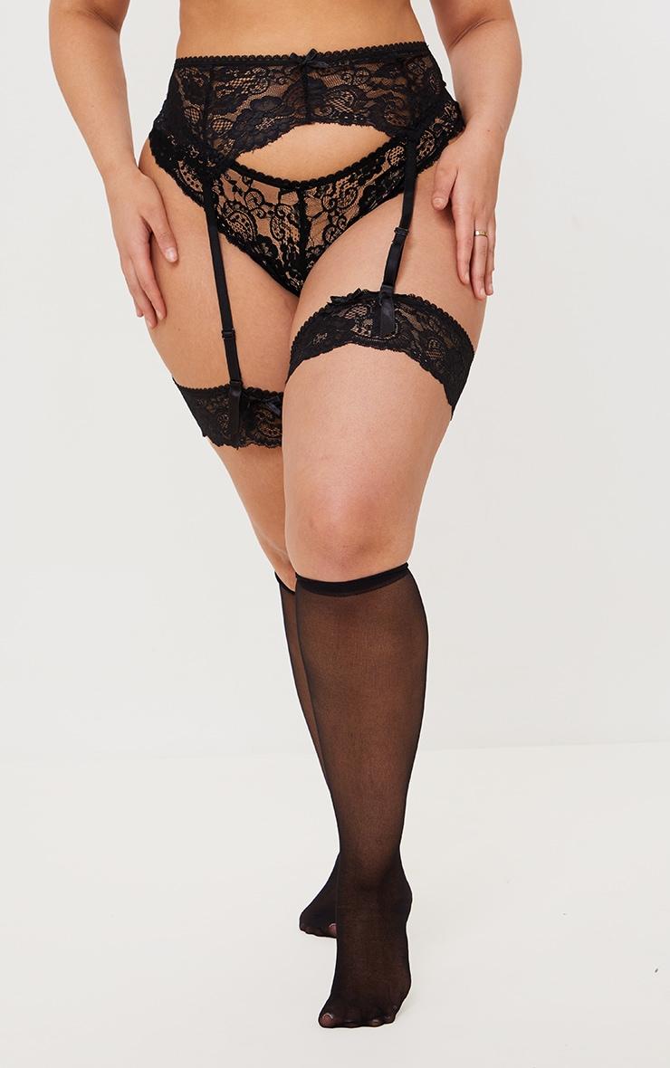 PLT Plus - Ensemble lingerie noir à porte-jarretelles, bas autofixants & culotte 2