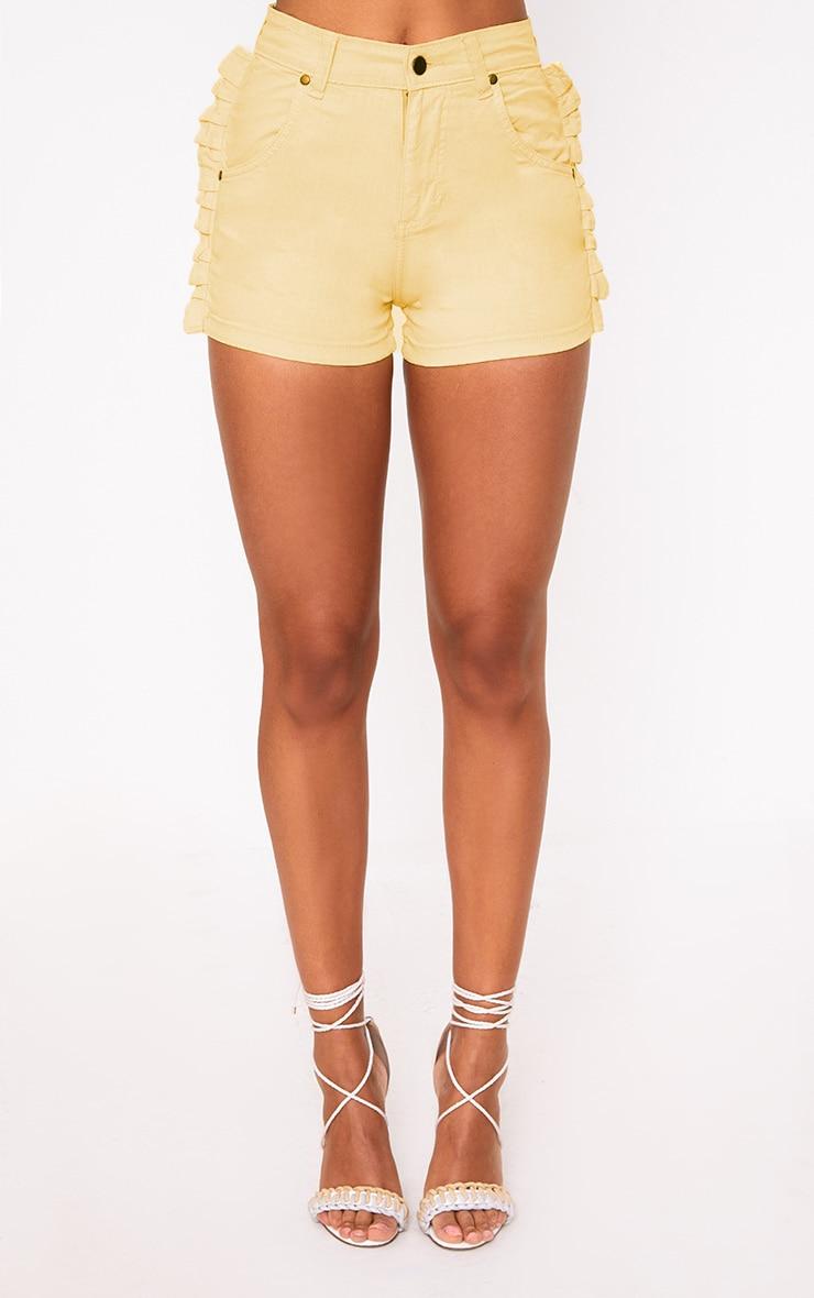Yellow Ruffle Denim Shorts 3