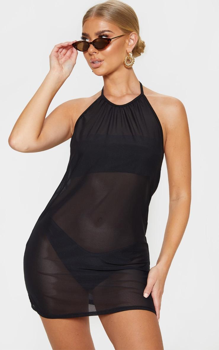 Black Basic Mesh Beach Dress 1