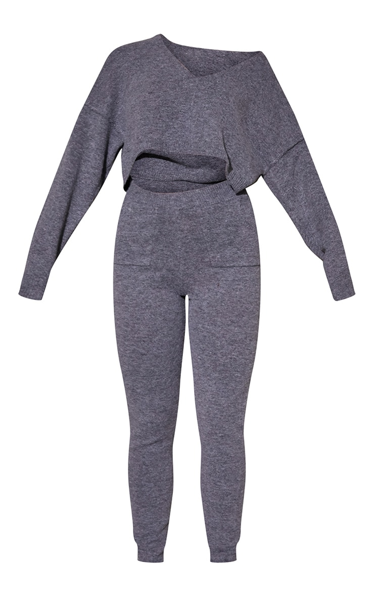 Charcoal Recycled Crop Sweater And Jogger Knitted Lounge Set 5