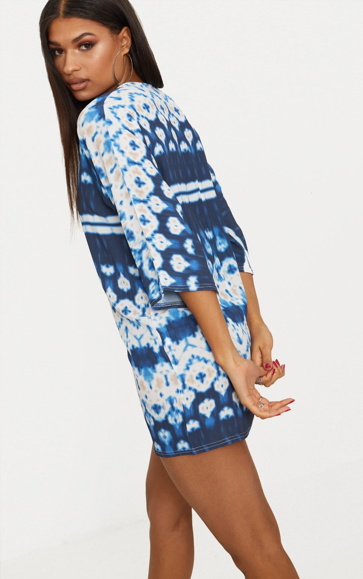 Blue Tie Dye Print Cut Out Detail Shift Dress 2