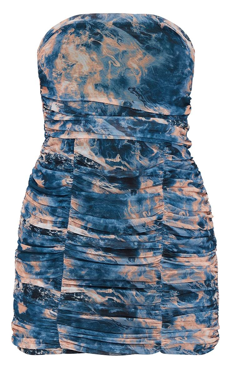 Blue Tie Dye Print Mesh Extreme Ruched Bandeau Bodycon Dress 5