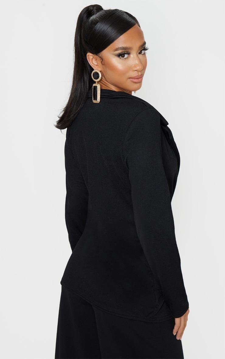 Petite Black Button Detail Blazer  2