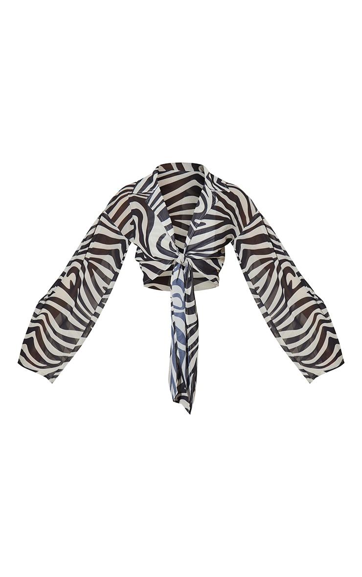 Black Zebra Print Chiffon Tie Front Detail Long Sleeve Shirt 5
